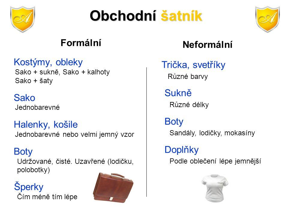 Obchodní šatník Formální Sako Neformální Trička, svetříky Sukně Boty