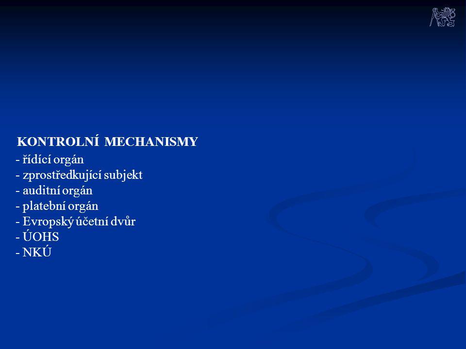 KONTROLNÍ MECHANISMY - řídící orgán - zprostředkující subjekt - auditní orgán - platební orgán - Evropský účetní dvůr - ÚOHS - NKÚ