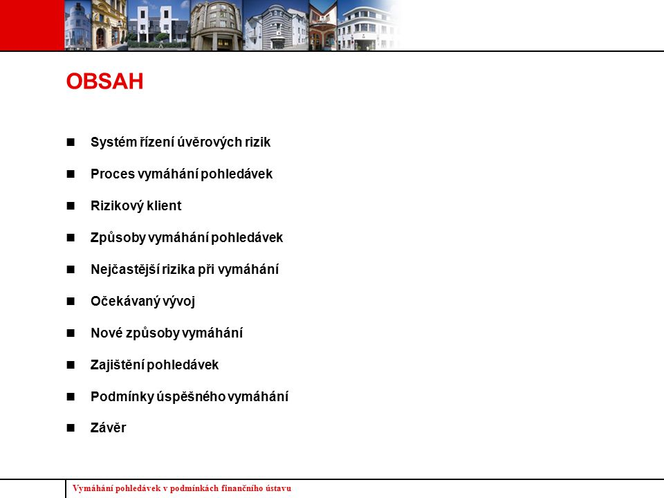 OBSAH Systém řízení úvěrových rizik Proces vymáhání pohledávek