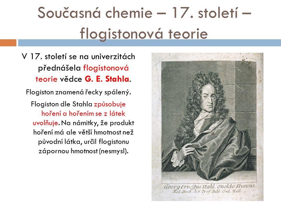 Současná chemie – 17. století – flogistonová teorie