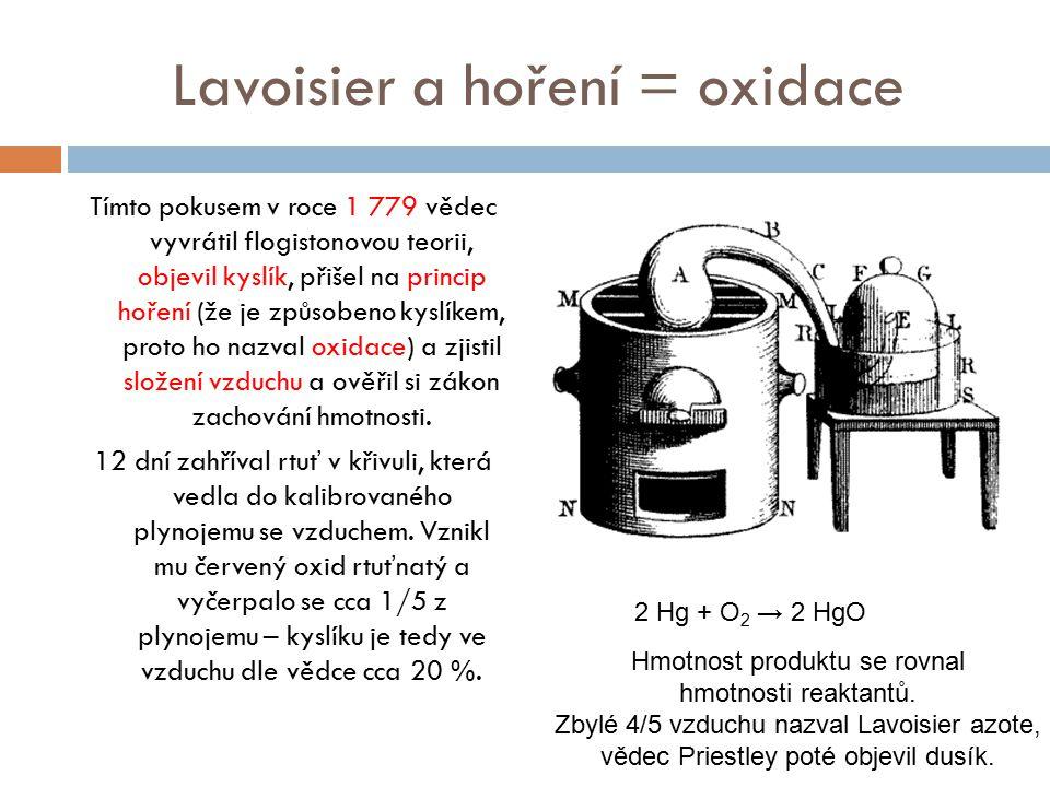 Lavoisier a hoření = oxidace