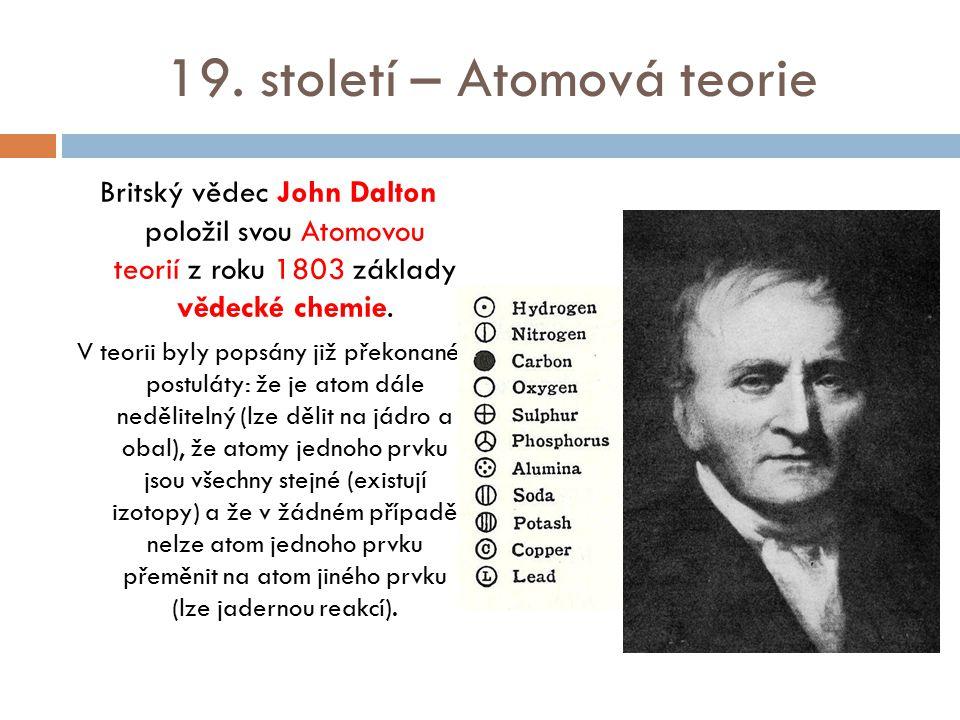 19. století – Atomová teorie