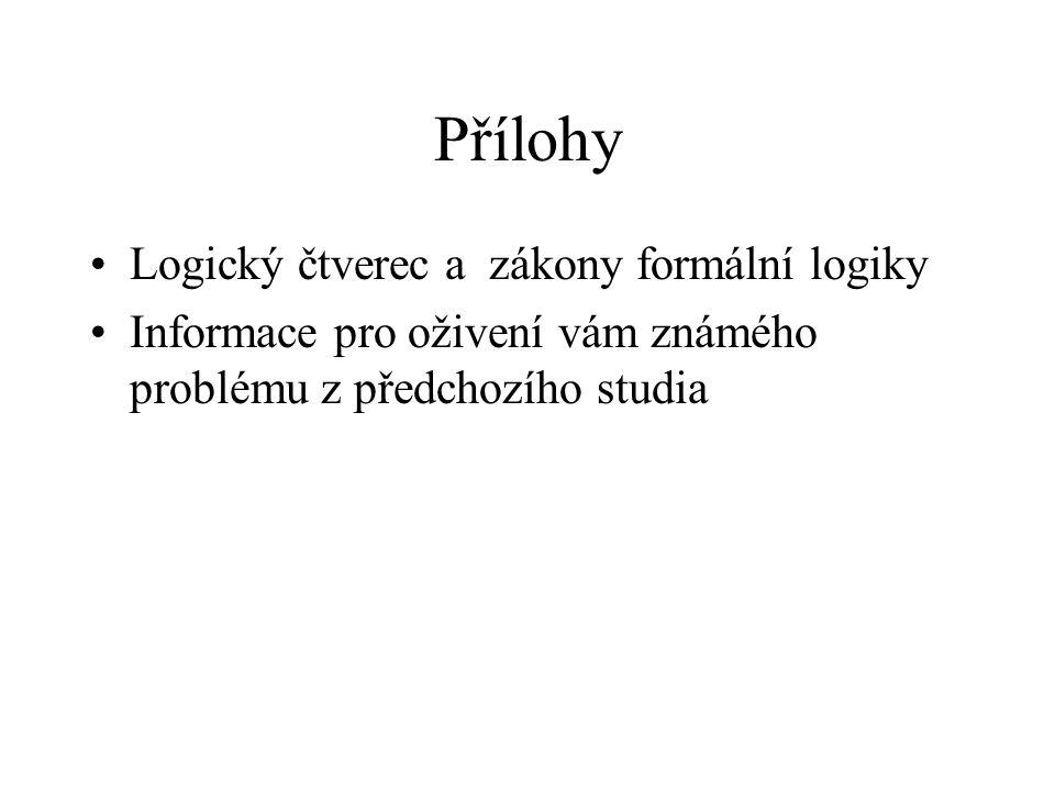 Přílohy Logický čtverec a zákony formální logiky