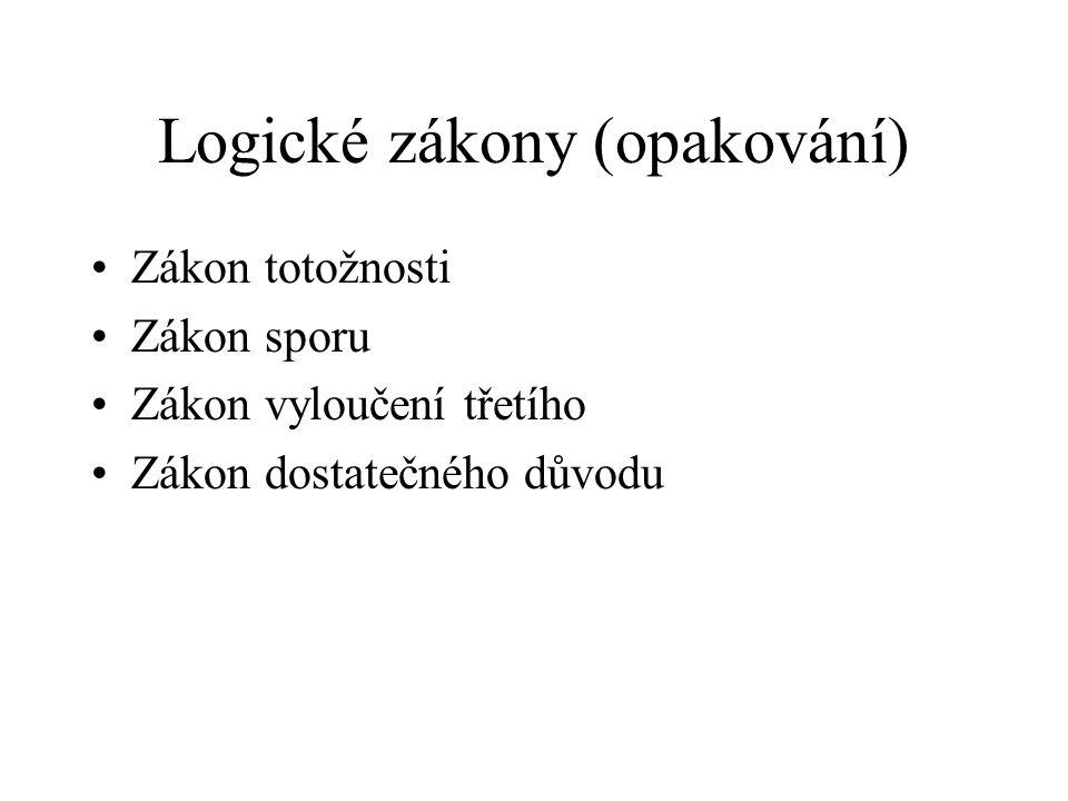 Logické zákony (opakování)