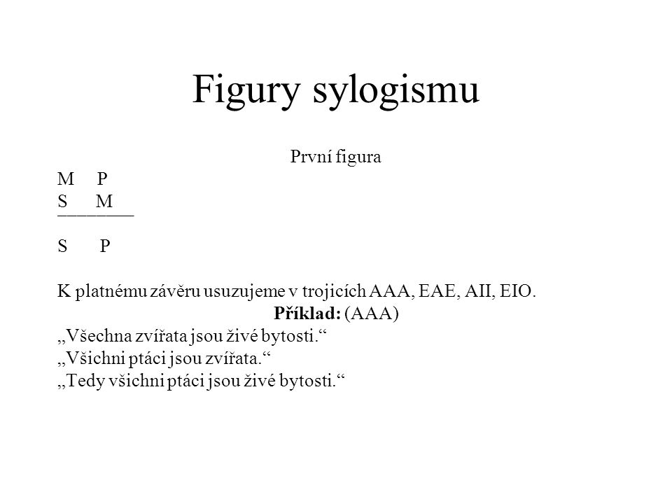 Figury sylogismu První figura M P S M ¯¯¯¯¯¯¯¯ S P