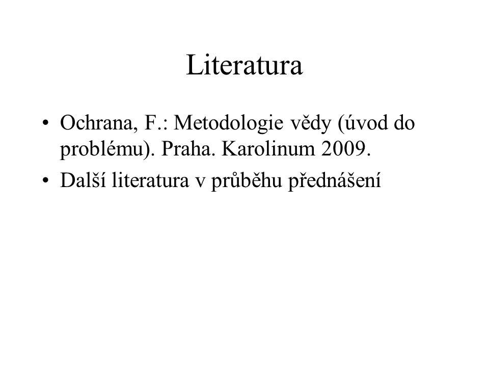 Literatura Ochrana, F.: Metodologie vědy (úvod do problému).