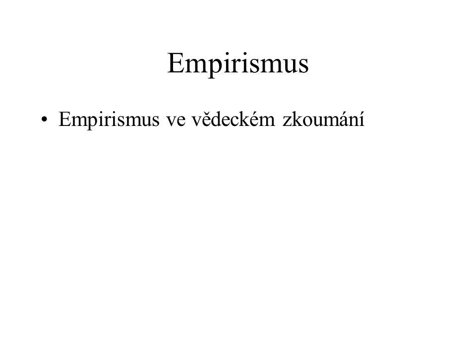 Empirismus Empirismus ve vědeckém zkoumání