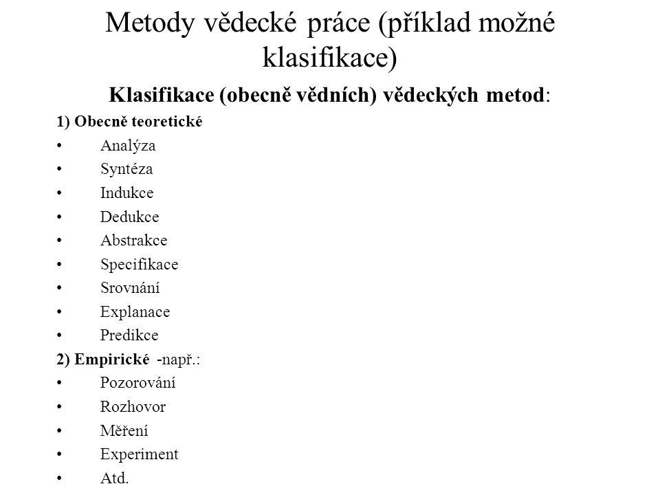 Metody vědecké práce (příklad možné klasifikace)