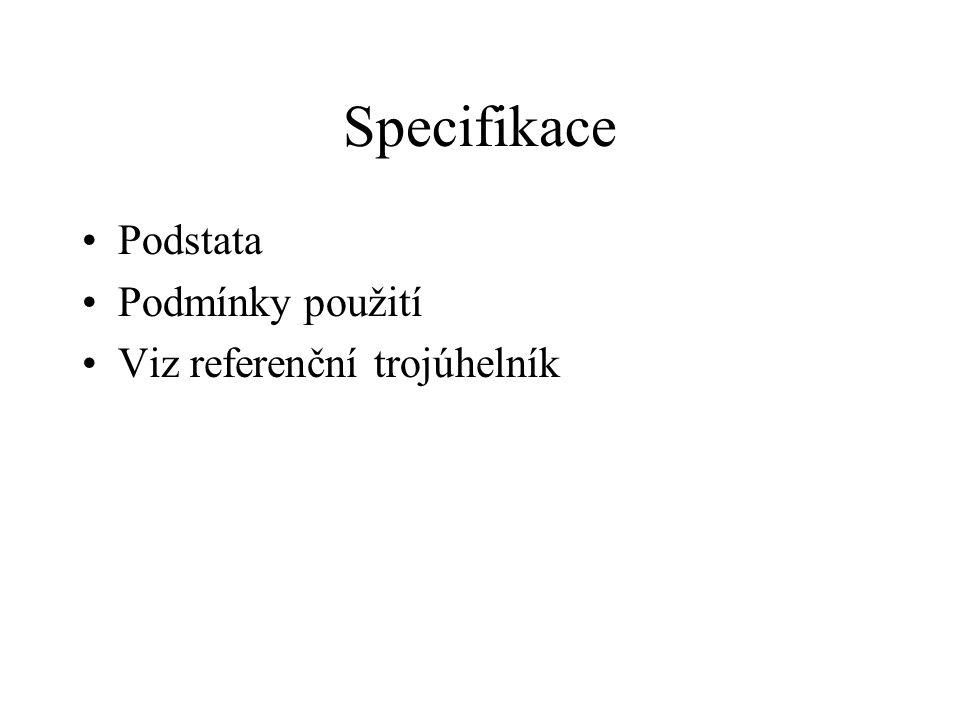 Specifikace Podstata Podmínky použití Viz referenční trojúhelník