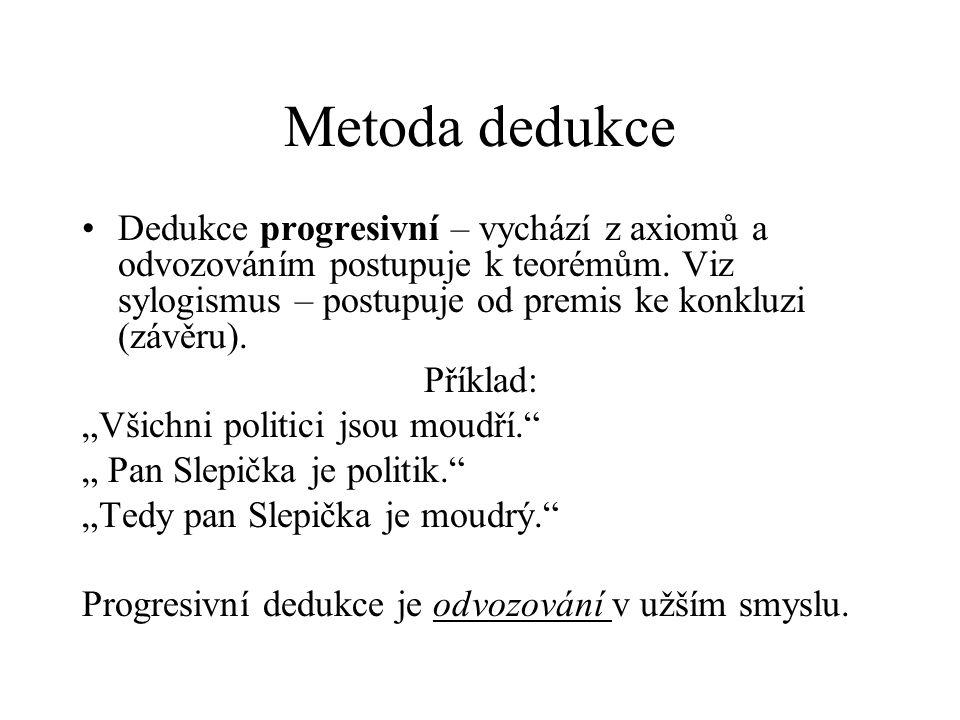 Metoda dedukce Dedukce progresivní – vychází z axiomů a odvozováním postupuje k teorémům. Viz sylogismus – postupuje od premis ke konkluzi (závěru).