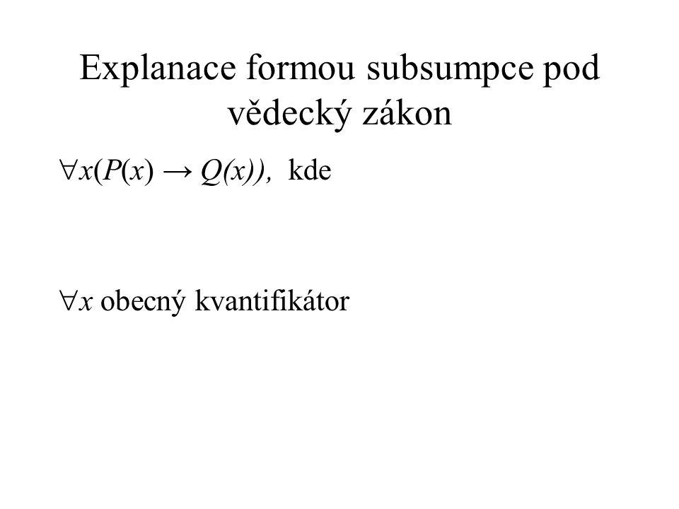 Explanace formou subsumpce pod vědecký zákon