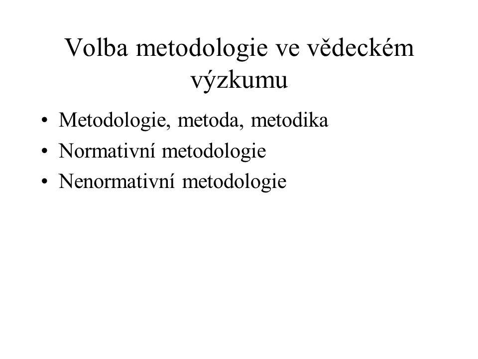 Volba metodologie ve vědeckém výzkumu