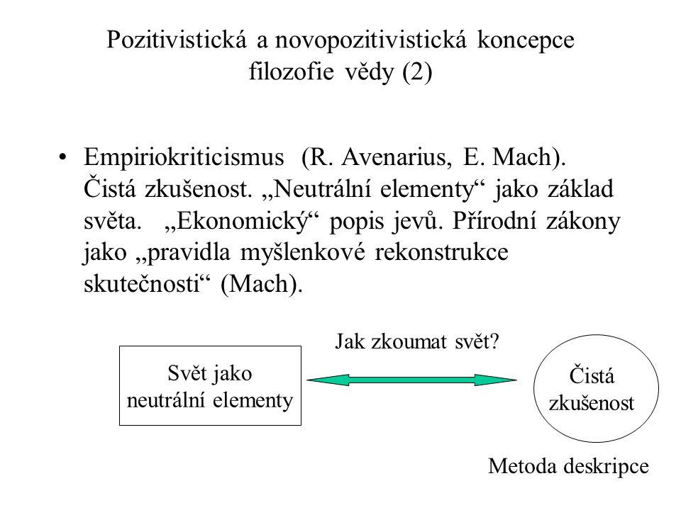 Pozitivistická a novopozitivistická koncepce filozofie vědy (2)
