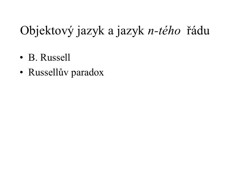 Objektový jazyk a jazyk n-tého řádu