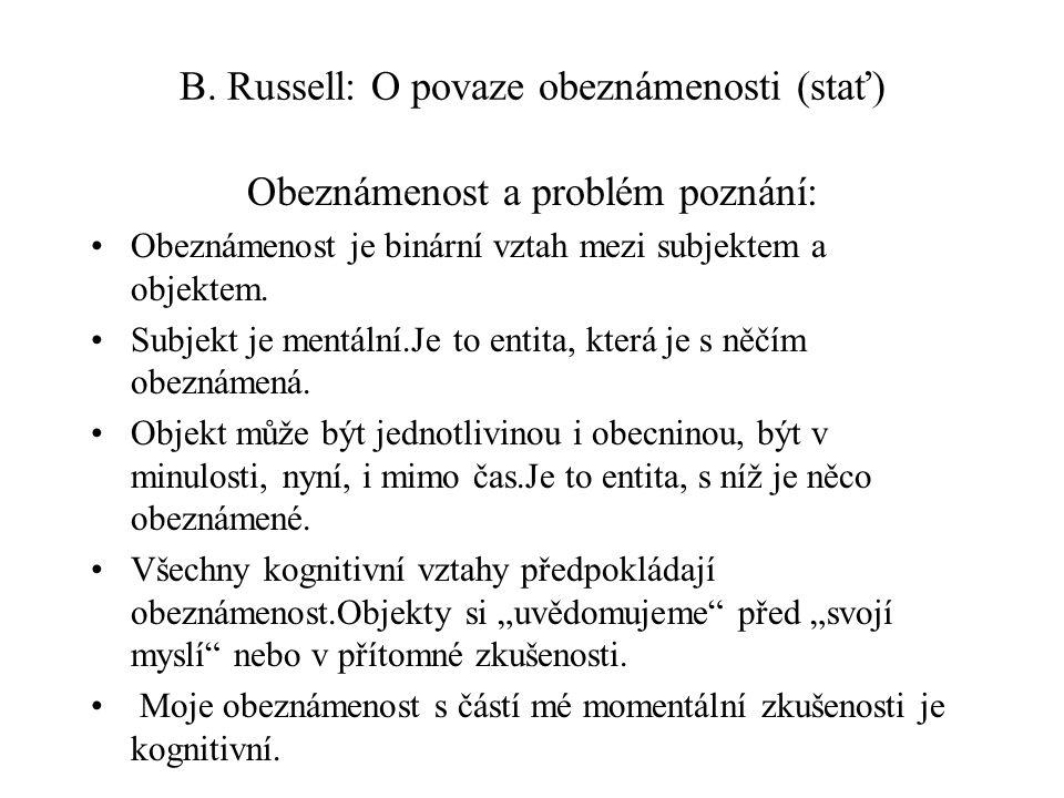 B. Russell: O povaze obeznámenosti (stať)