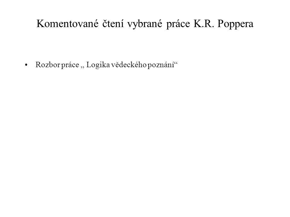 Komentované čtení vybrané práce K.R. Poppera