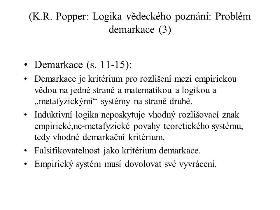 (K.R. Popper: Logika vědeckého poznání: Problém demarkace (3)