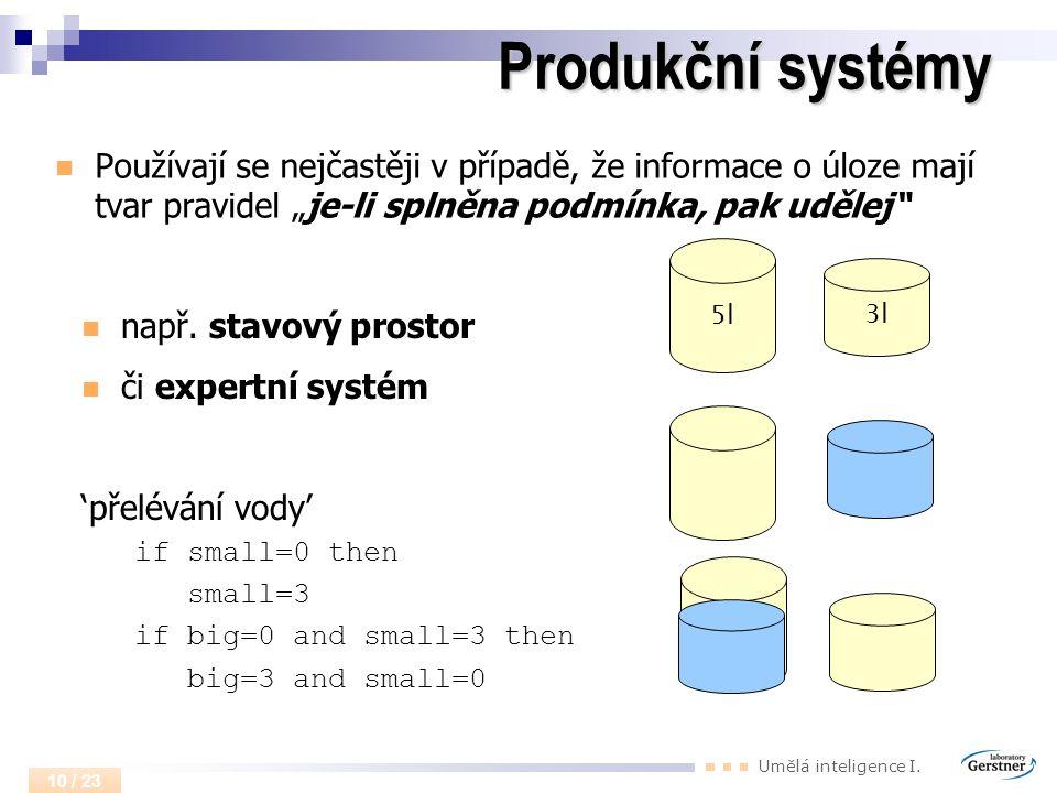 """Produkční systémy Používají se nejčastěji v případě, že informace o úloze mají tvar pravidel """"je-li splněna podmínka, pak udělej"""