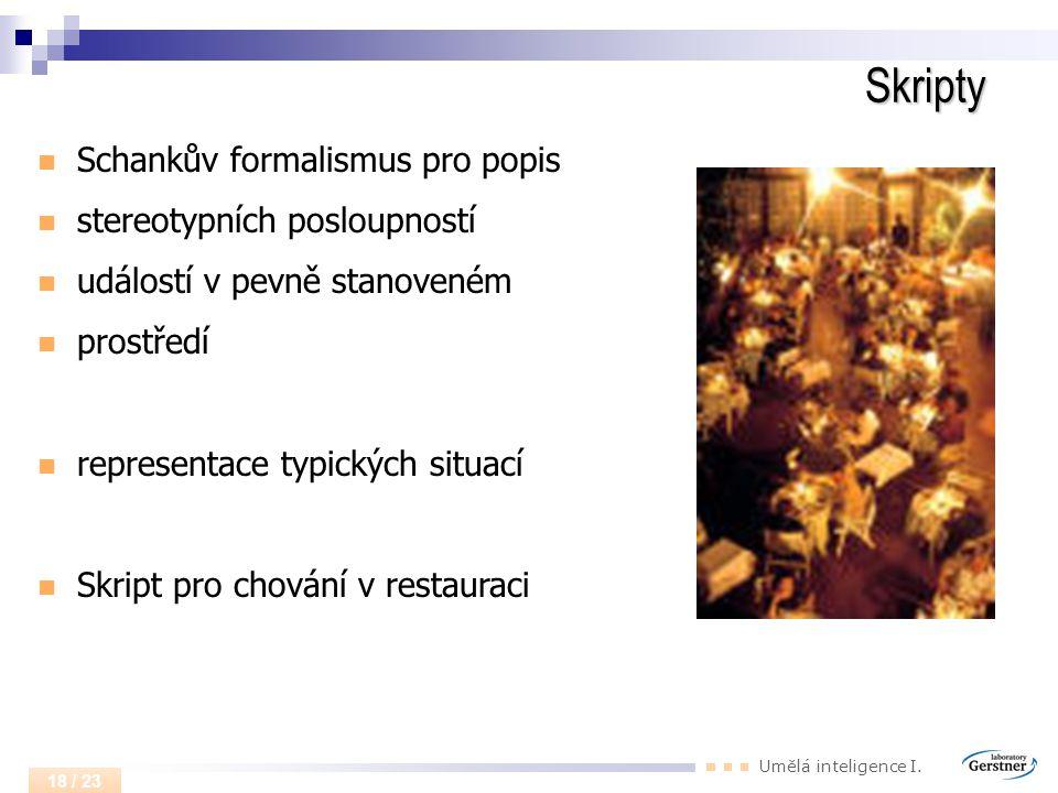 Skripty Schankův formalismus pro popis stereotypních posloupností