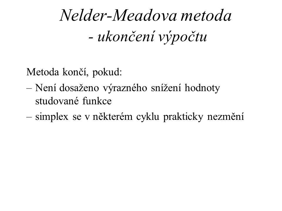 Nelder-Meadova metoda - ukončení výpočtu