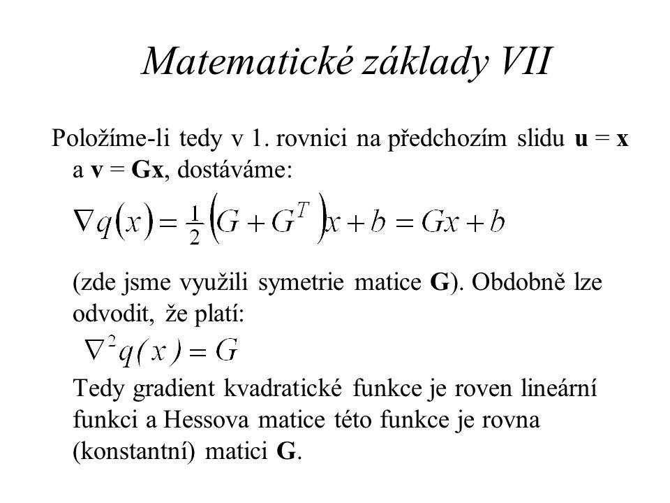 Matematické základy VII