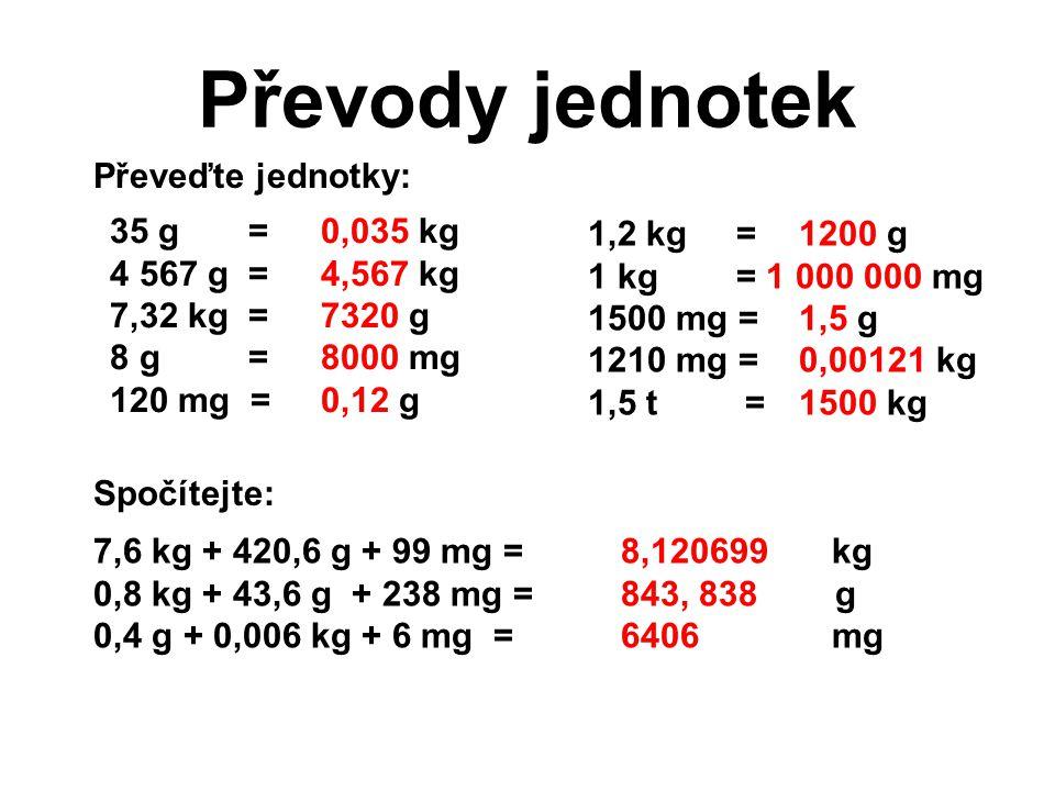 Převody jednotek Převeďte jednotky: 35 g = 0,035 kg 1,2 kg = 1200 g