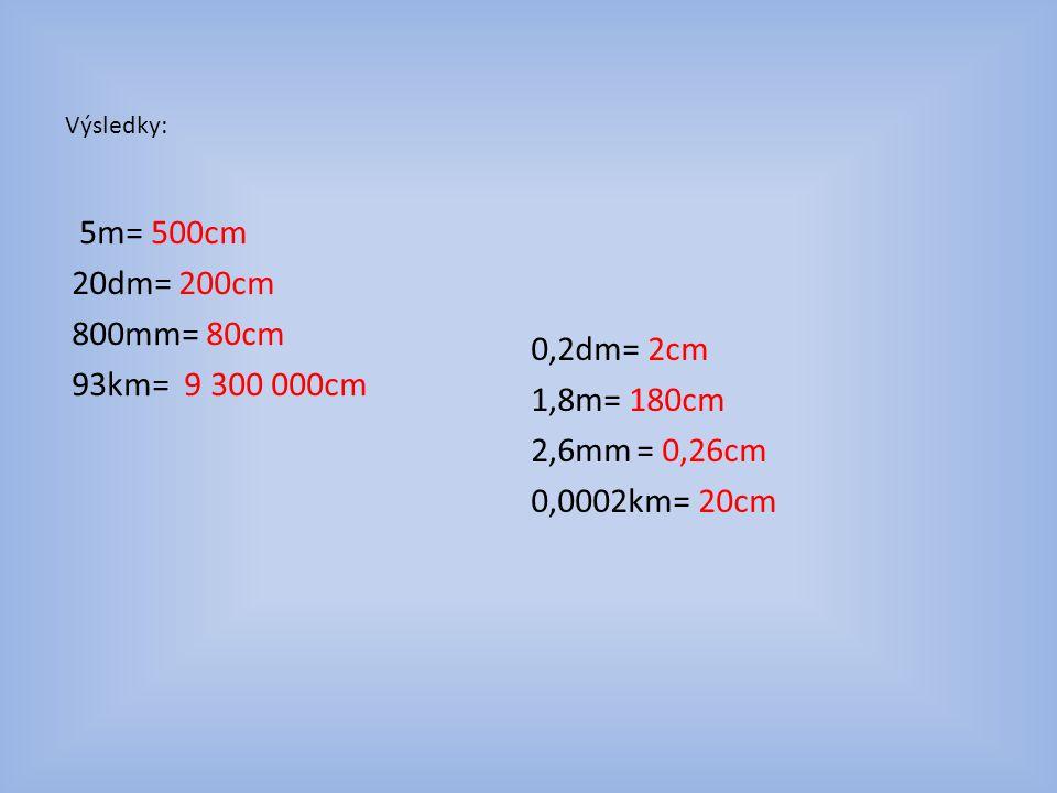 Výsledky: 5m= 500cm 20dm= 200cm 800mm= 80cm 93km= 9 300 000cm 0,2dm= 2cm 1,8m= 180cm 2,6mm = 0,26cm 0,0002km= 20cm