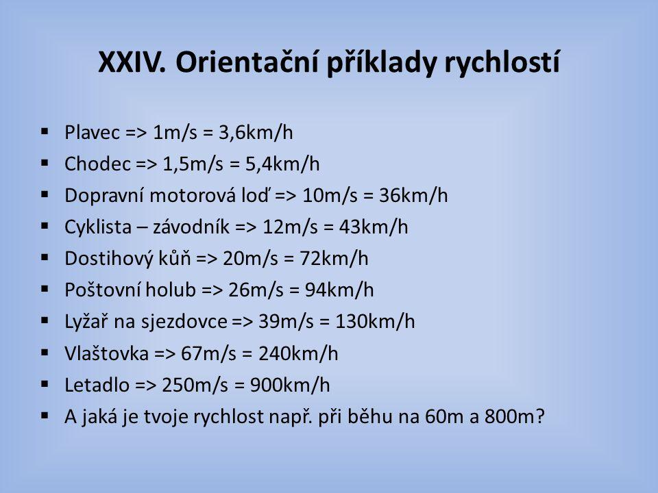 XXIV. Orientační příklady rychlostí