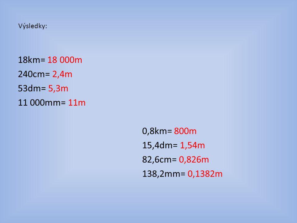 Výsledky: 18km= 18 000m 240cm= 2,4m 53dm= 5,3m 11 000mm= 11m 0,8km= 800m 15,4dm= 1,54m 82,6cm = 0,826m 138,2mm= 0,1382m