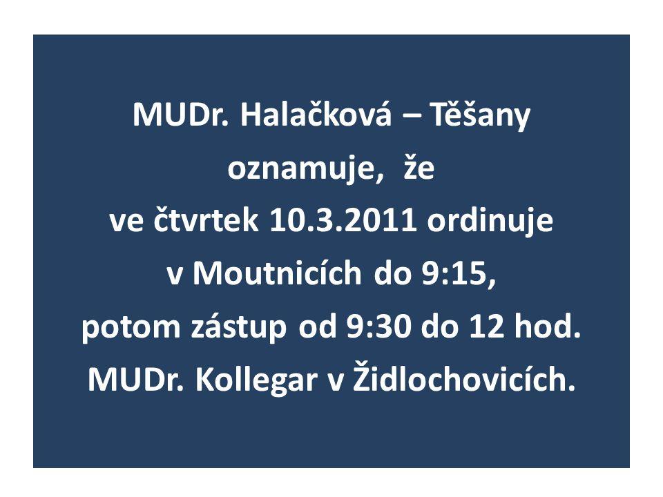 MUDr. Halačková – Těšany oznamuje, že ve čtvrtek 10. 3