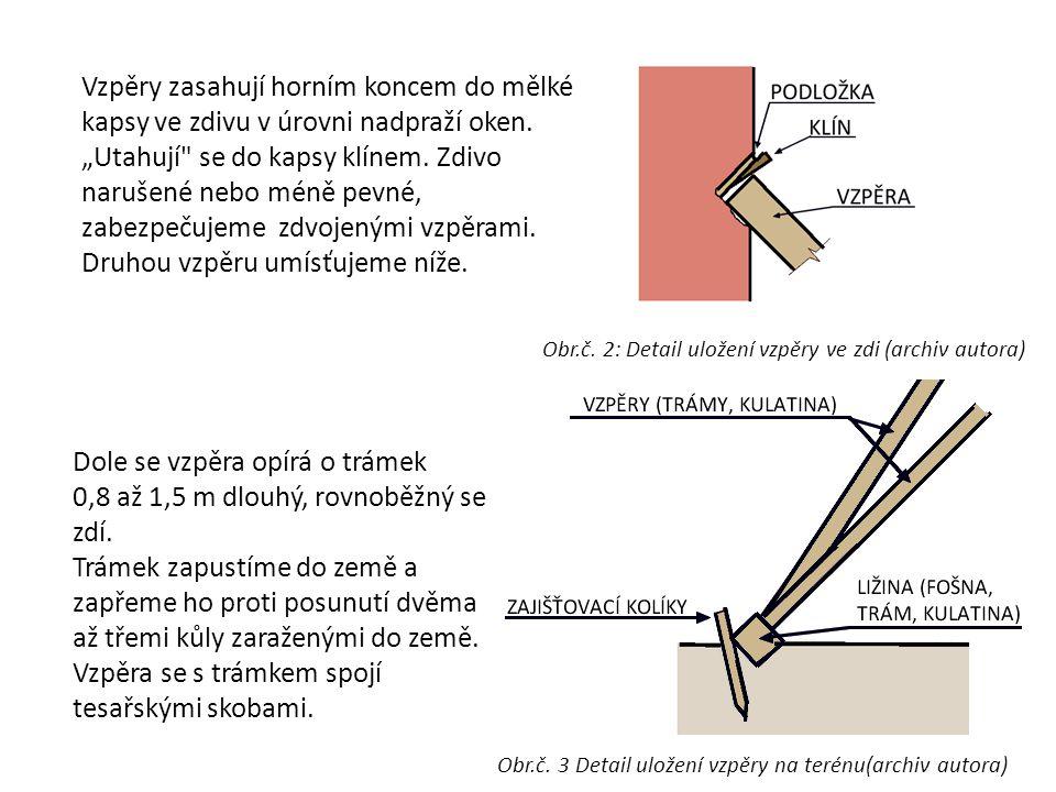 Dole se vzpěra opírá o trámek 0,8 až 1,5 m dlouhý, rovnoběžný se zdí.
