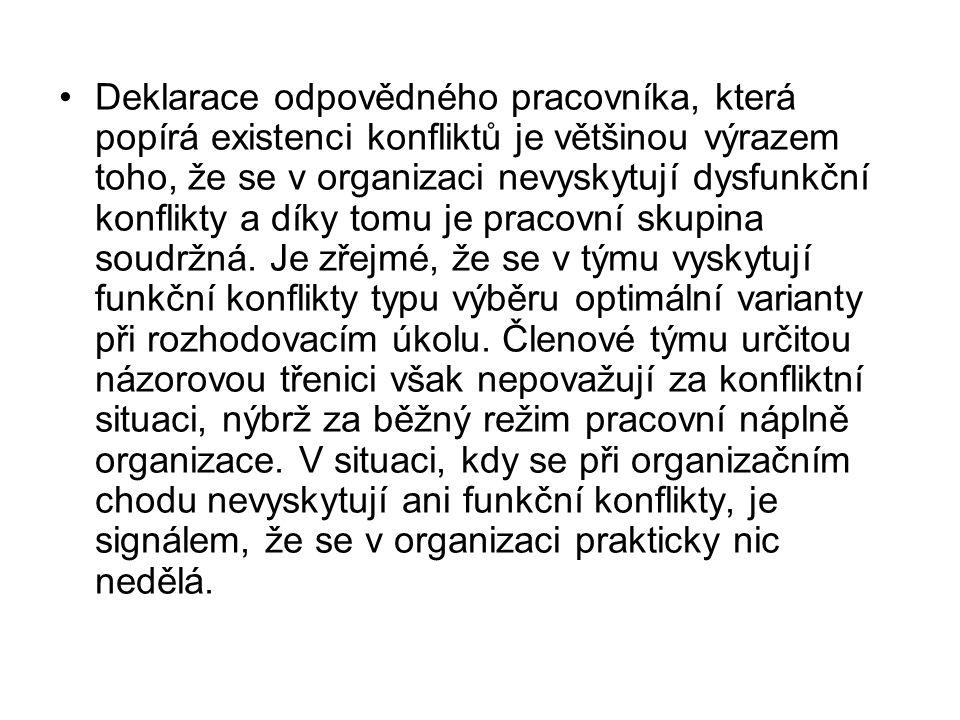 Deklarace odpovědného pracovníka, která popírá existenci konfliktů je většinou výrazem toho, že se v organizaci nevyskytují dysfunkční konflikty a díky tomu je pracovní skupina soudržná.