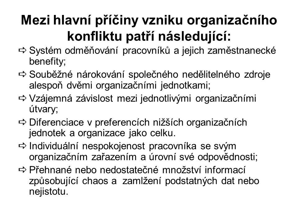 Mezi hlavní příčiny vzniku organizačního konfliktu patří následující: