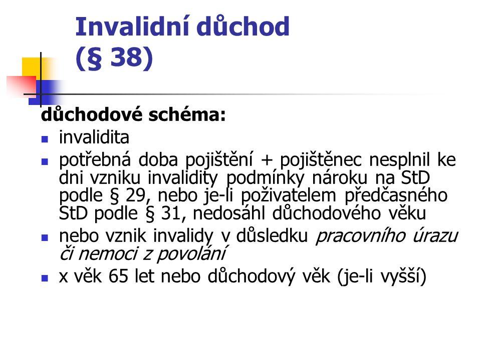 Invalidní důchod (§ 38) důchodové schéma: invalidita