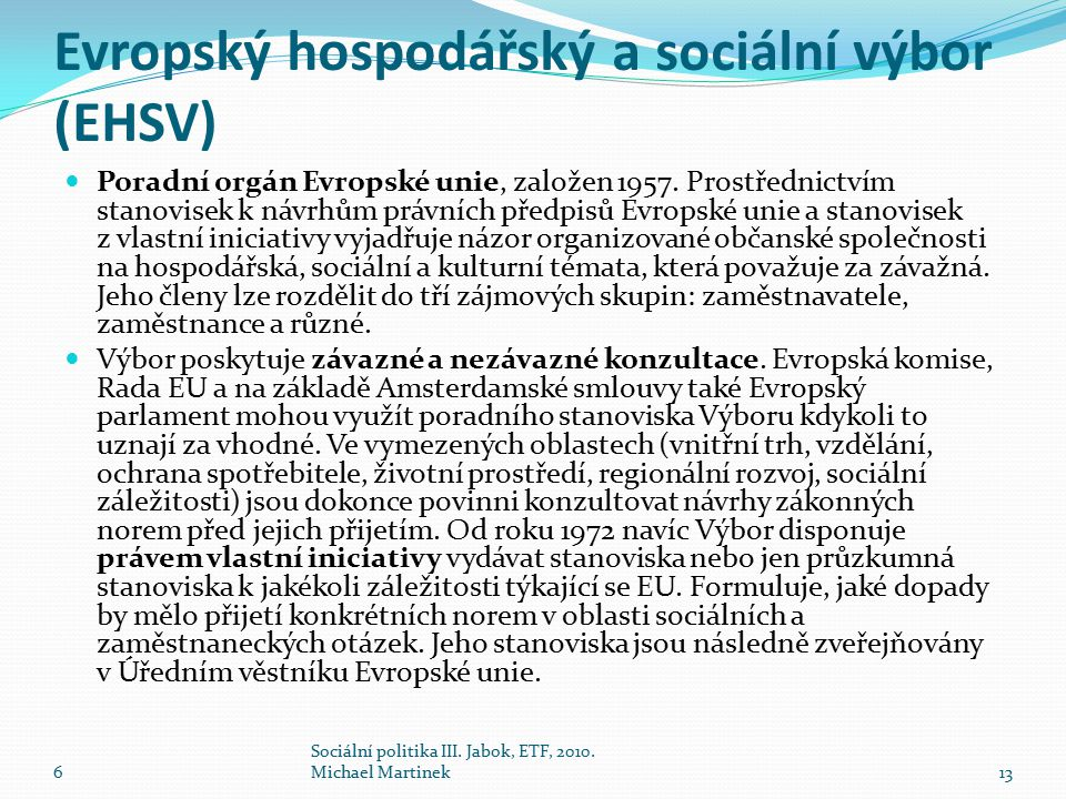 Evropský hospodářský a sociální výbor (EHSV)