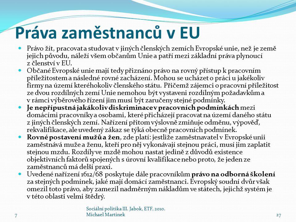 Práva zaměstnanců v EU