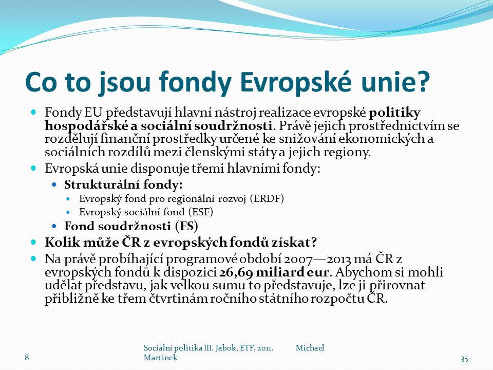 Co to jsou fondy Evropské unie