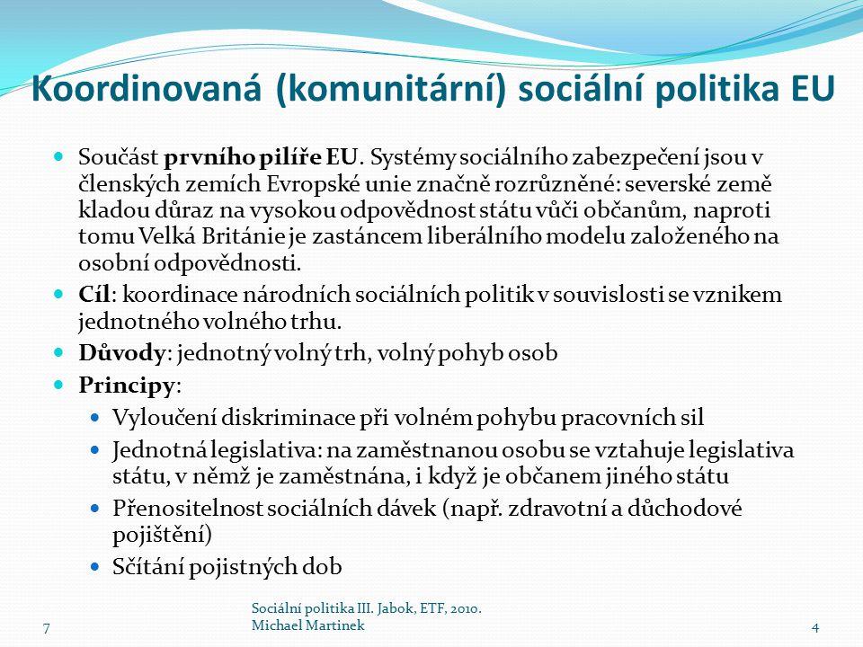 Koordinovaná (komunitární) sociální politika EU