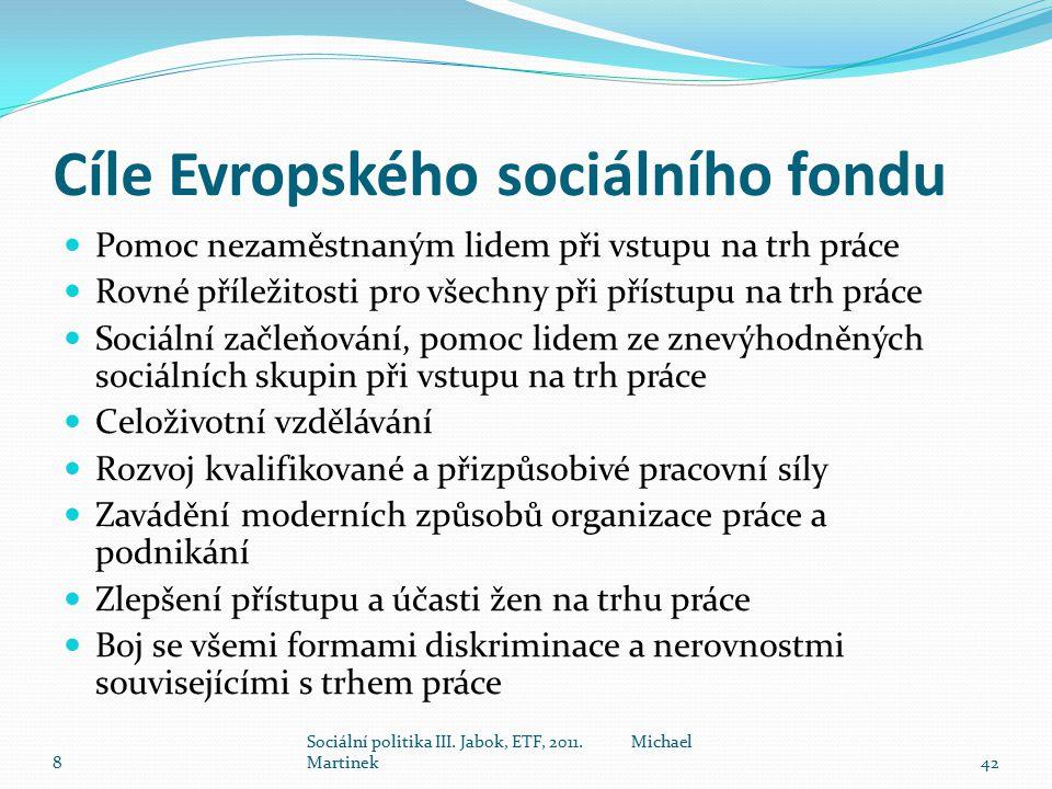 Cíle Evropského sociálního fondu