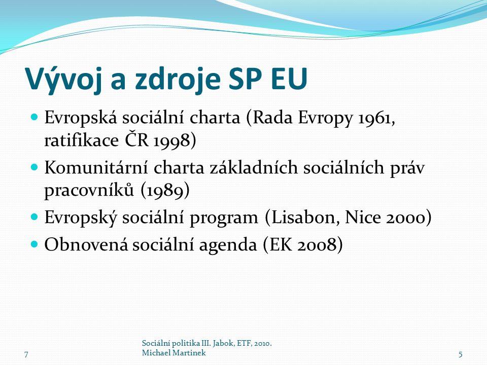 Vývoj a zdroje SP EU Evropská sociální charta (Rada Evropy 1961, ratifikace ČR 1998) Komunitární charta základních sociálních práv pracovníků (1989)