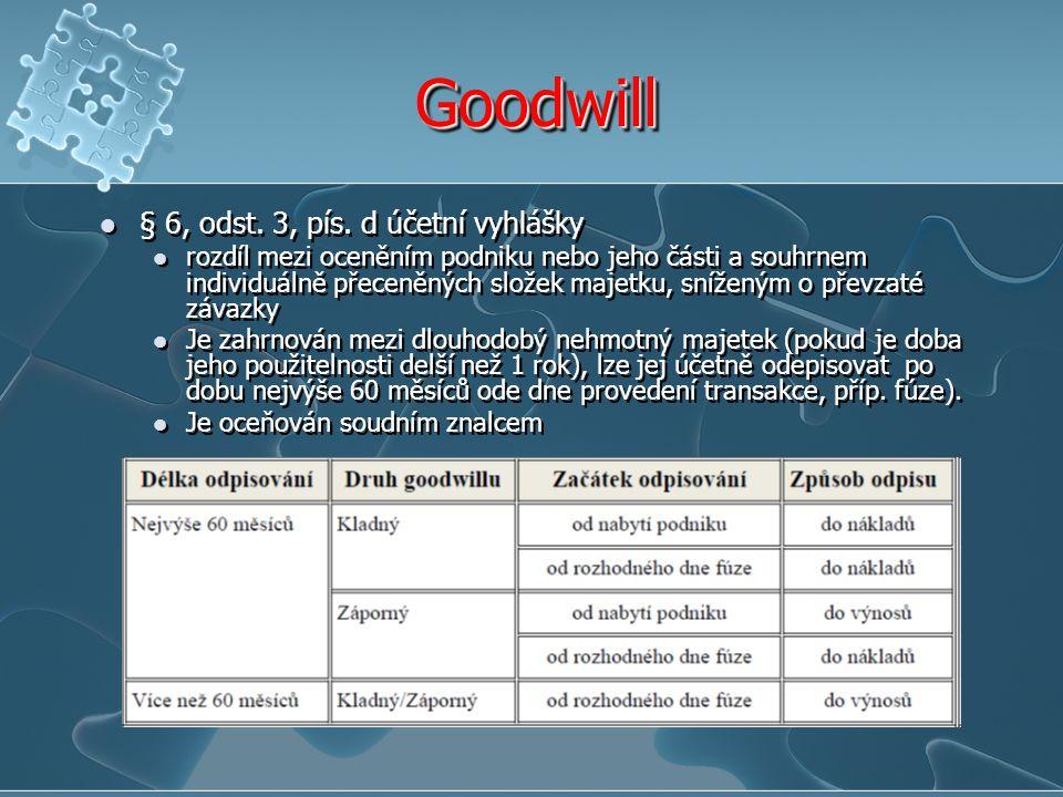 Goodwill § 6, odst. 3, pís. d účetní vyhlášky