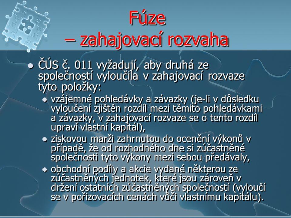 Fúze – zahajovací rozvaha