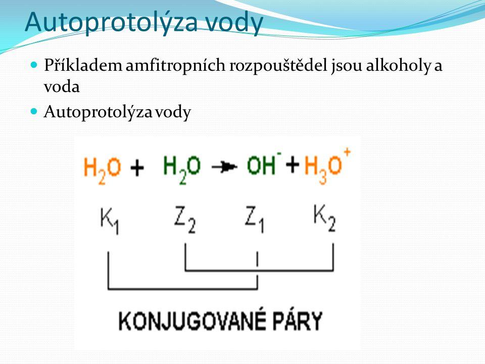Autoprotolýza vody Příkladem amfitropních rozpouštědel jsou alkoholy a voda Autoprotolýza vody