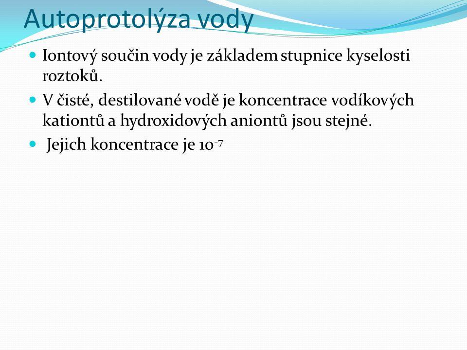 Autoprotolýza vody Iontový součin vody je základem stupnice kyselosti roztoků.
