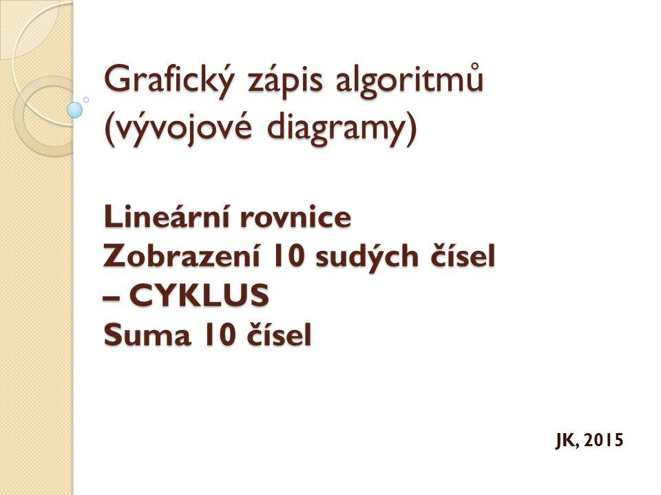 Grafický zápis algoritmů (vývojové diagramy) Lineární rovnice Zobrazení 10 sudých čísel – CYKLUS Suma 10 čísel