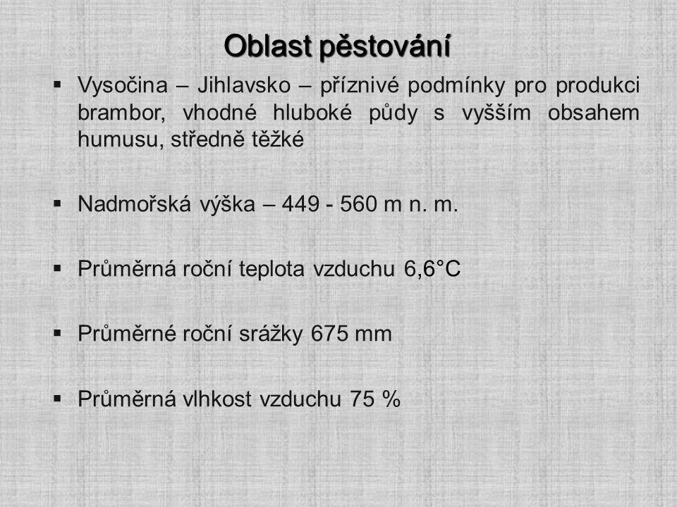 Oblast pěstování Vysočina – Jihlavsko – příznivé podmínky pro produkci brambor, vhodné hluboké půdy s vyšším obsahem humusu, středně těžké.