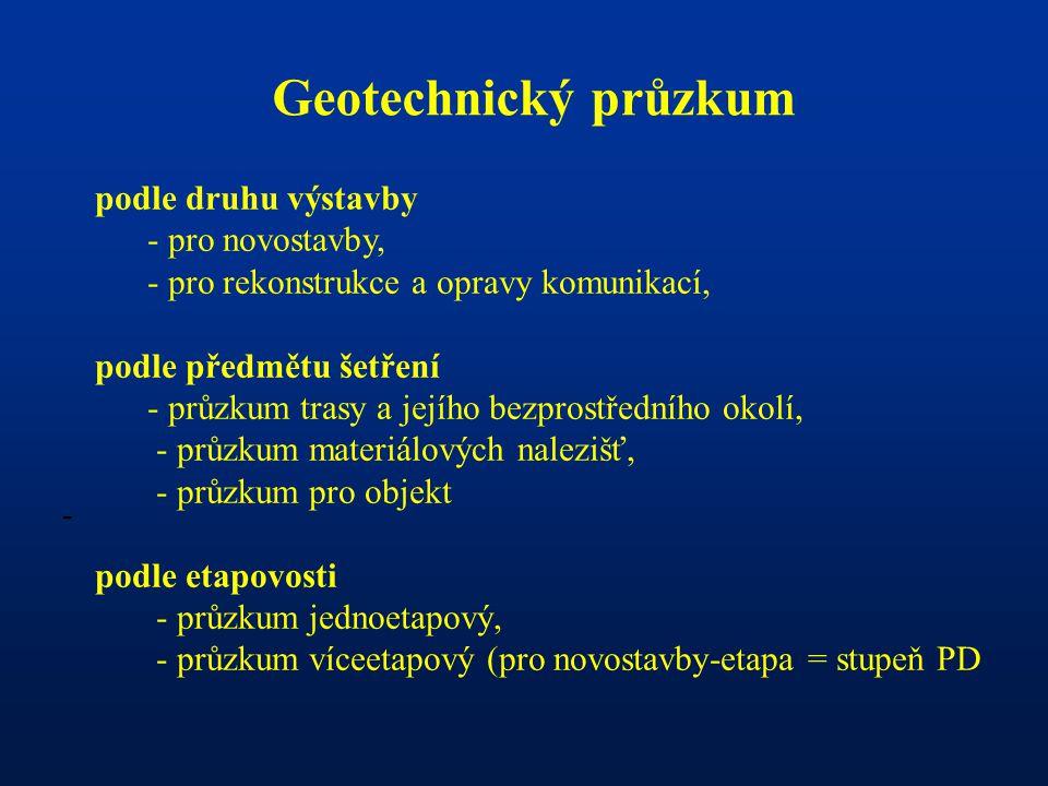 Geotechnický průzkum podle druhu výstavby - pro novostavby, - pro rekonstrukce a opravy komunikací,