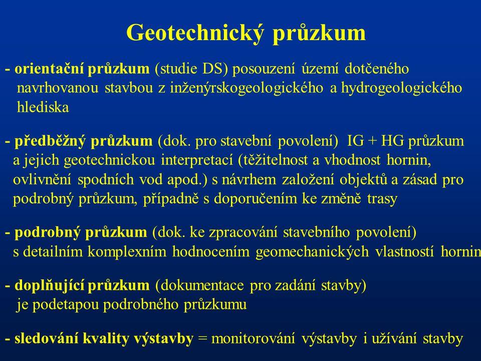 Geotechnický průzkum - orientační průzkum (studie DS) posouzení území dotčeného. navrhovanou stavbou z inženýrskogeologického a hydrogeologického.