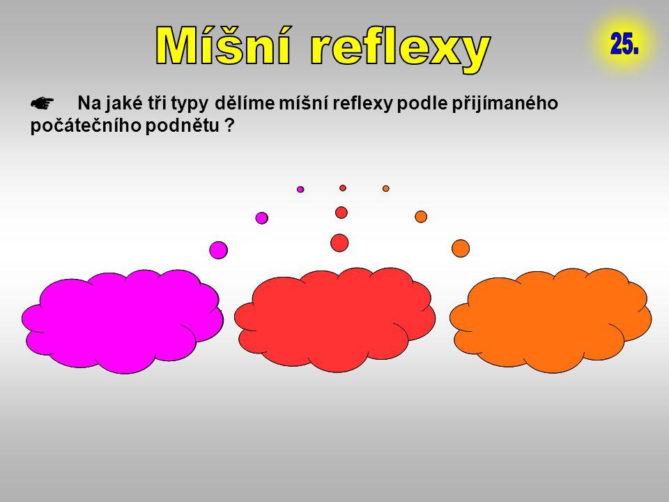 Míšní reflexy 25. Na jaké tři typy dělíme míšní reflexy podle přijímaného počátečního podnětu 1. PROPRIORECEPTIVNÍ.