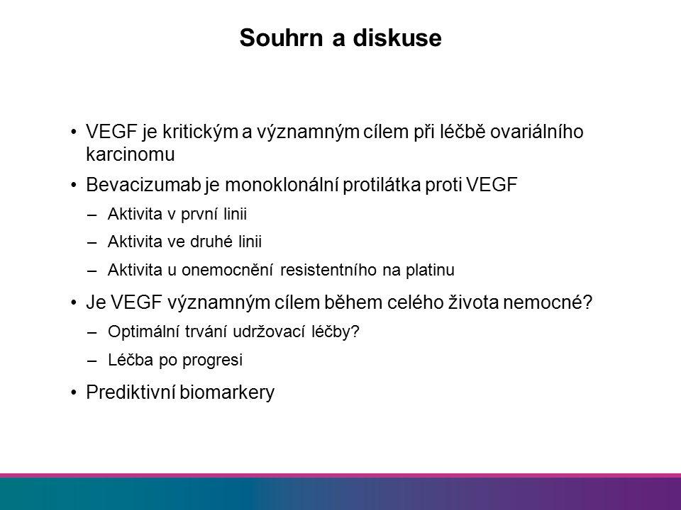 Souhrn a diskuse VEGF je kritickým a významným cílem při léčbě ovariálního karcinomu. Bevacizumab je monoklonální protilátka proti VEGF.